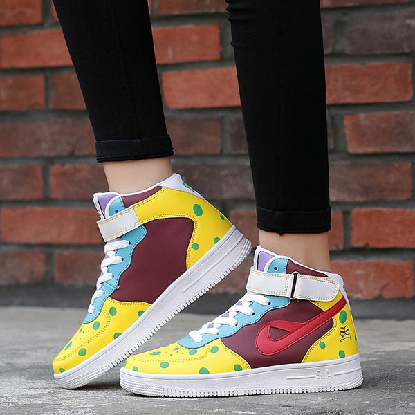 Velcro Round Toe Candy Color High-Cut Upper Flat With Polka Dot Sneakers