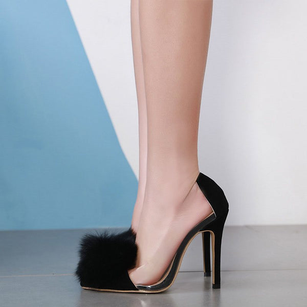 Pompon Slip-On Pointed Toe Stiletto Heel Patchwork 12cm Thin Shoes