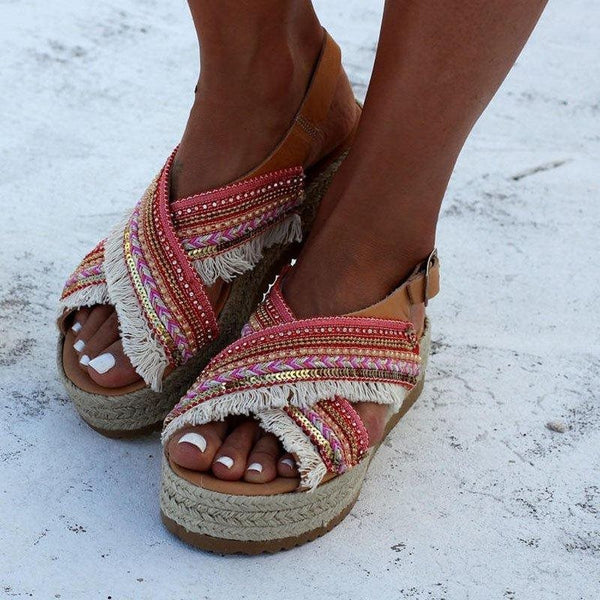 Open Toe Buckle Casual Ethnic Sandals