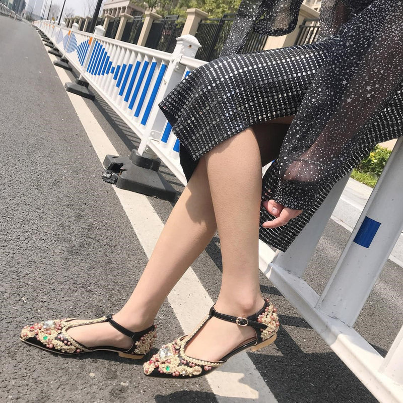 Buckle Buckle Closed Toe Low-Cut Upper Flat Heel Thin Shoes