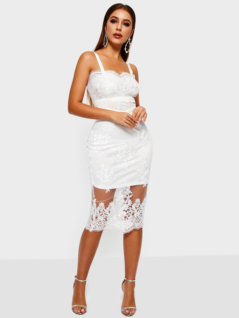 Mid-Calf Lace Sleeveless Pullover Plain Dresses