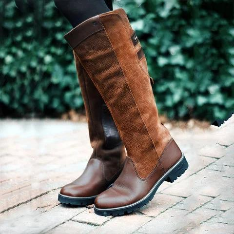 Plain Slip-On Chunky Heel Round Toe Casual Boots