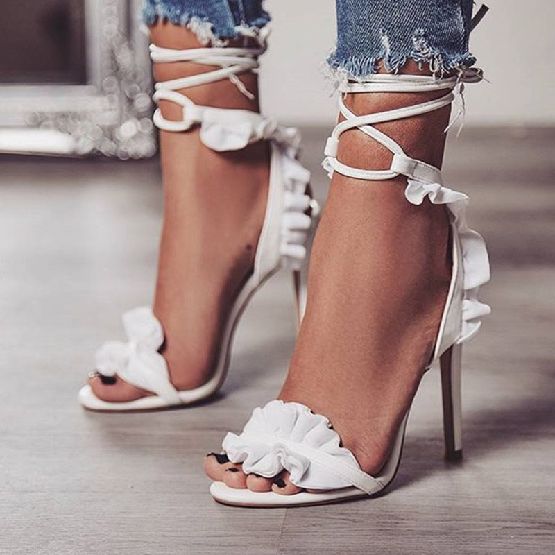 Ankle Strap Lace-Up Open Toe Stiletto Heel Casual Plain Sandals