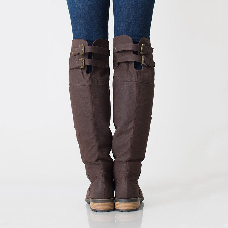 Block Heel Plain Side Zipper Round Toe Casual Buckle Boots