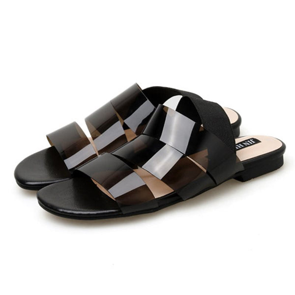 Open Toe Elastic Band Block Heel Casual Hollow Sandals