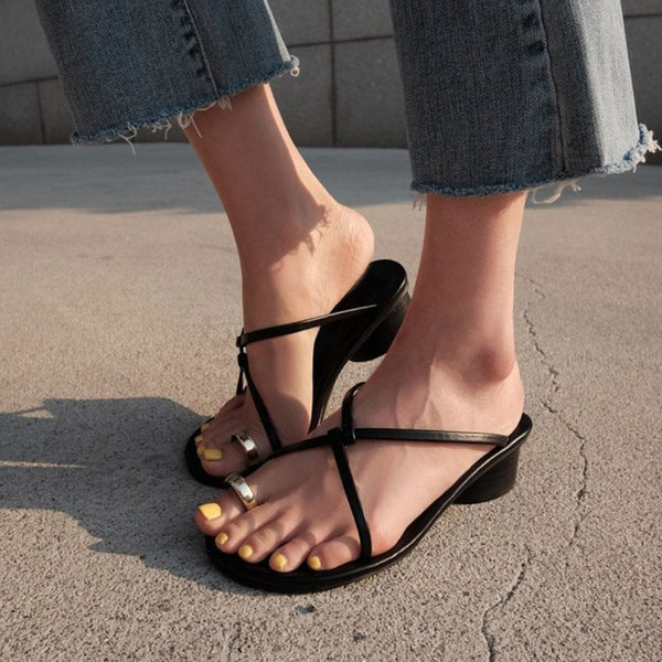Cross Strap Slip-On Chunky Heel Toe Ring Plain Rubber Slippers