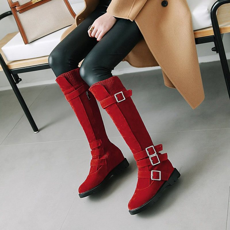 Block Heel Slip-On Plain Round Toe Short Floss Buckle Boots