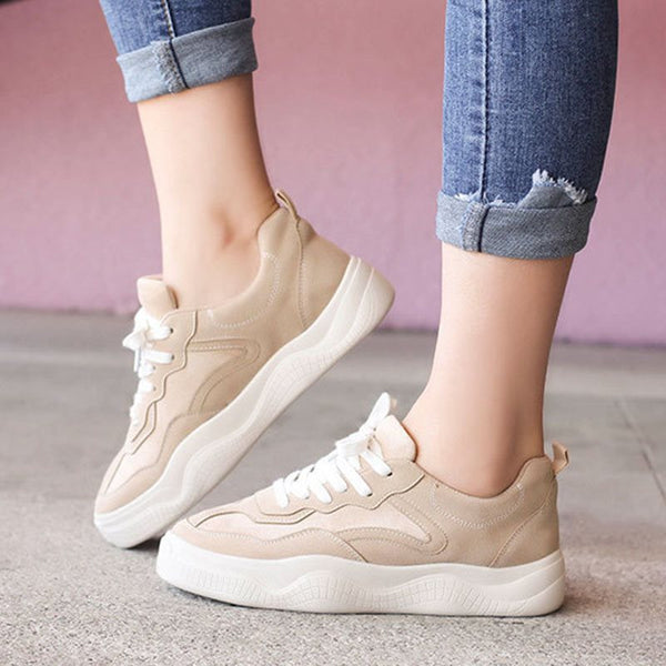 Round Toe Low-Cut Upper Lace-Up Platform Flat With Plain Sneakers