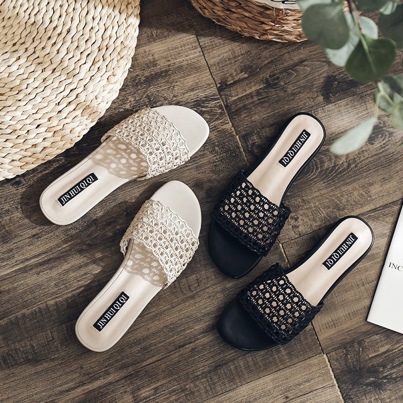 Flip Flop Block Heel Slip-On Hollow Casual Summer Slippers