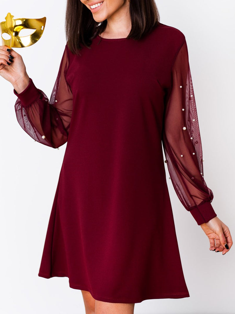 Round Neck Long Sleeve Patchwork Regular Fall Dresses