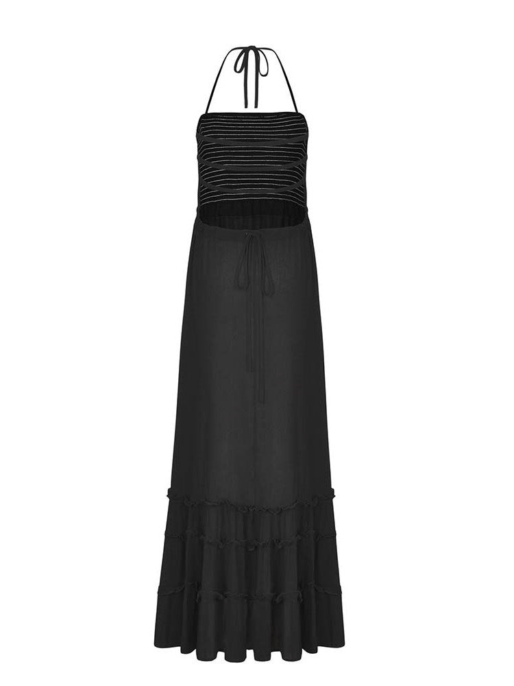 Sleeveless Stringy Selvedge Ankle-Length Pullover Halter Dress