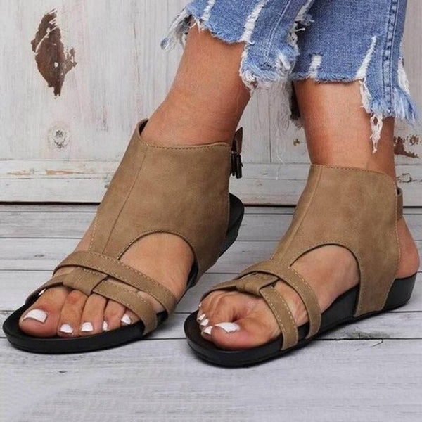 Open Toe Strappy Buckle Flat With Plain Casual Sandals