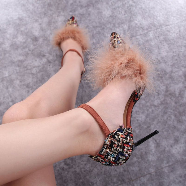 Pointed Toe Stiletto Heel Buckle Low-Cut Upper Casual Thin Shoes