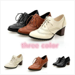 Lace-Up Round Toe Chunky Heel High Heel Low-Cut Upper Thin Shoes