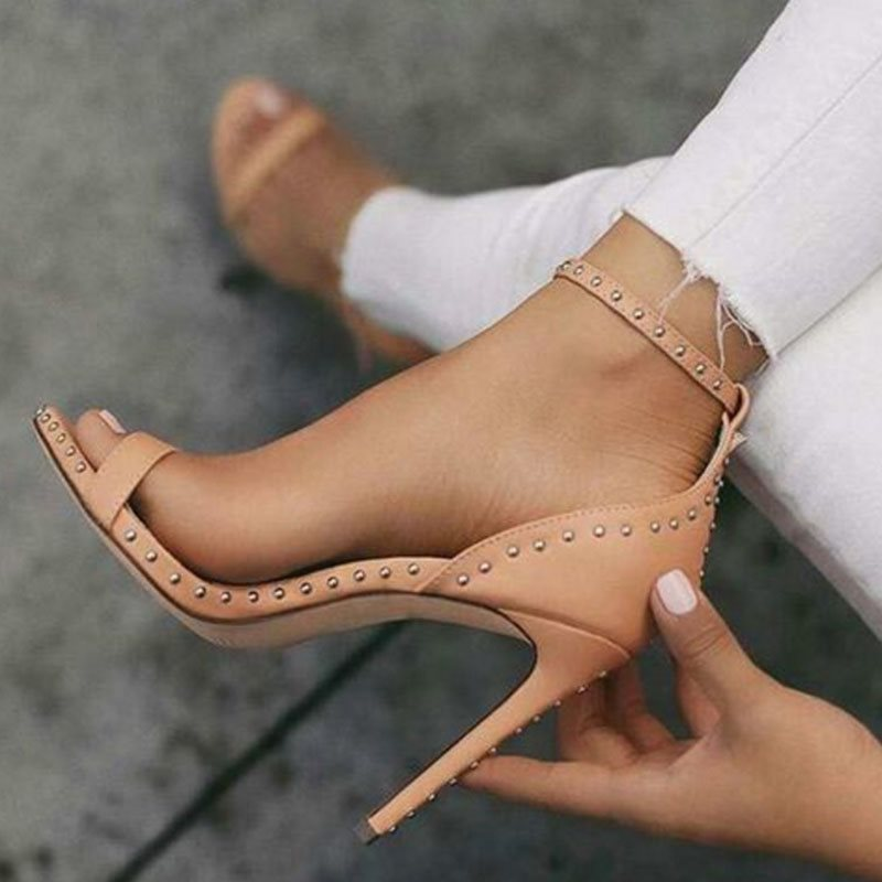 Line-Style Buckle Open Toe Heel Covering Stiletto Heel Casual Plain Sandals