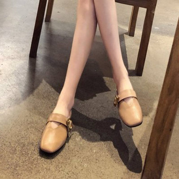 Block Heel Slip-On Buckle Square Toe Casual Low Heel Thin Shoes