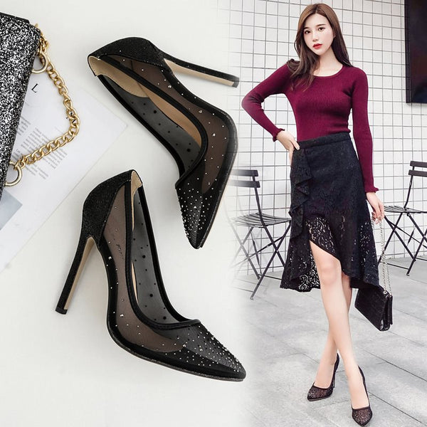 Pointed Toe Mesh Slip-On Stiletto Heel Plain Ultra-High Heel Thin Shoes