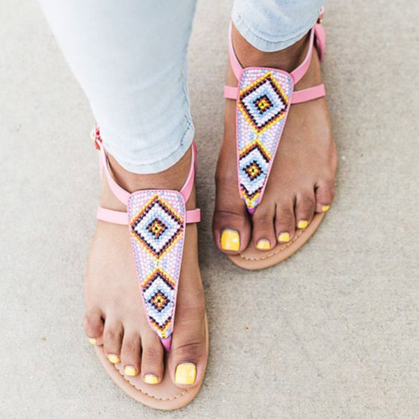 Thong Buckle Geometric Casual Sandals