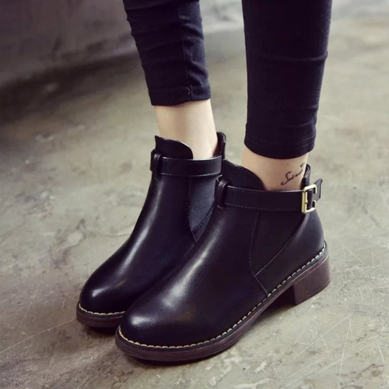 Stylish Side Belt PU Ankle Boots