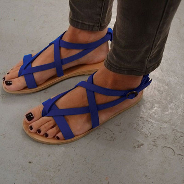 Buckle Flat With Open Toe Plain Vintage Sandals