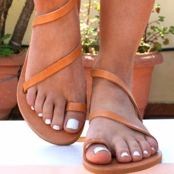 Block Heel Toe Ring Strappy Slip-On Plain Low-Cut Upper Sandals
