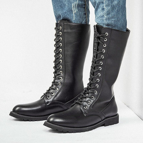 Lace-Up Front Round Toe Plain PU Boots