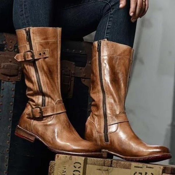 Block Heel Round Toe Color Block Side Zipper Western Casual Boots