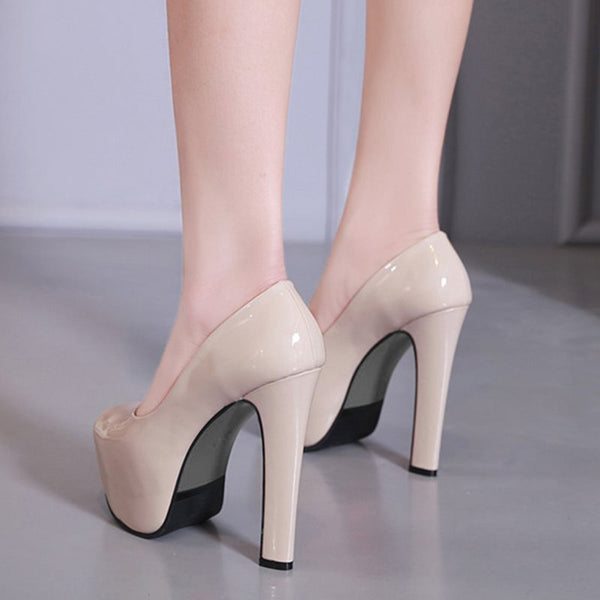 Chunky Heel Slip-On Peep Toe Banquet 13.5cm Thin Shoes