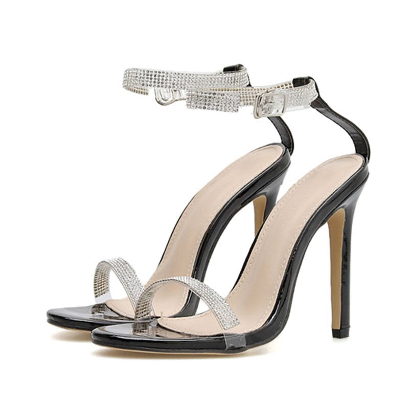 Open Toe Stiletto Heel Ankle Strap Line-Style Buckle Casual Low-Cut Upper Sandals