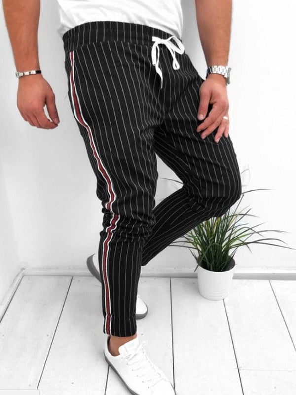 Stripe Lace-Up Harem Four Seasons Lace-Up Casual Pants