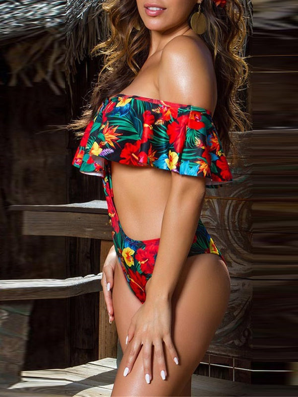 Print One Piece Floral Swimwear