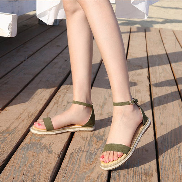 Heel Covering Line-Style Buckle Open Toe Plain Casual Sandals