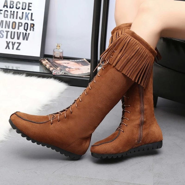 Side Zipper Plain Round Toe Cross Strap Short Floss Boots