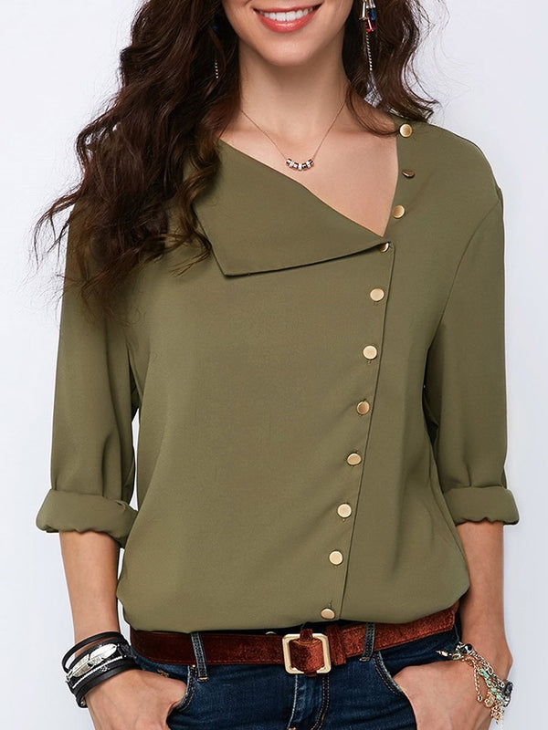 Asymmetric Oblique Collar Plain Standard Long Sleeve Blouse