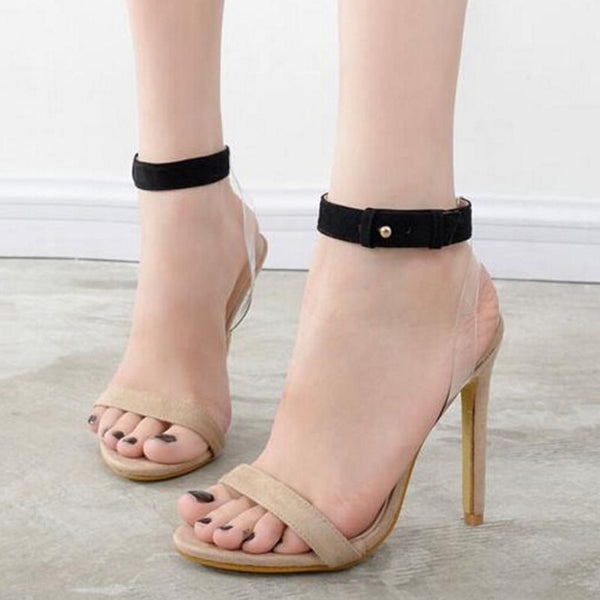 Buckle Open Toe Ankle Strap Stiletto Heel Casual Patchwork Sandals