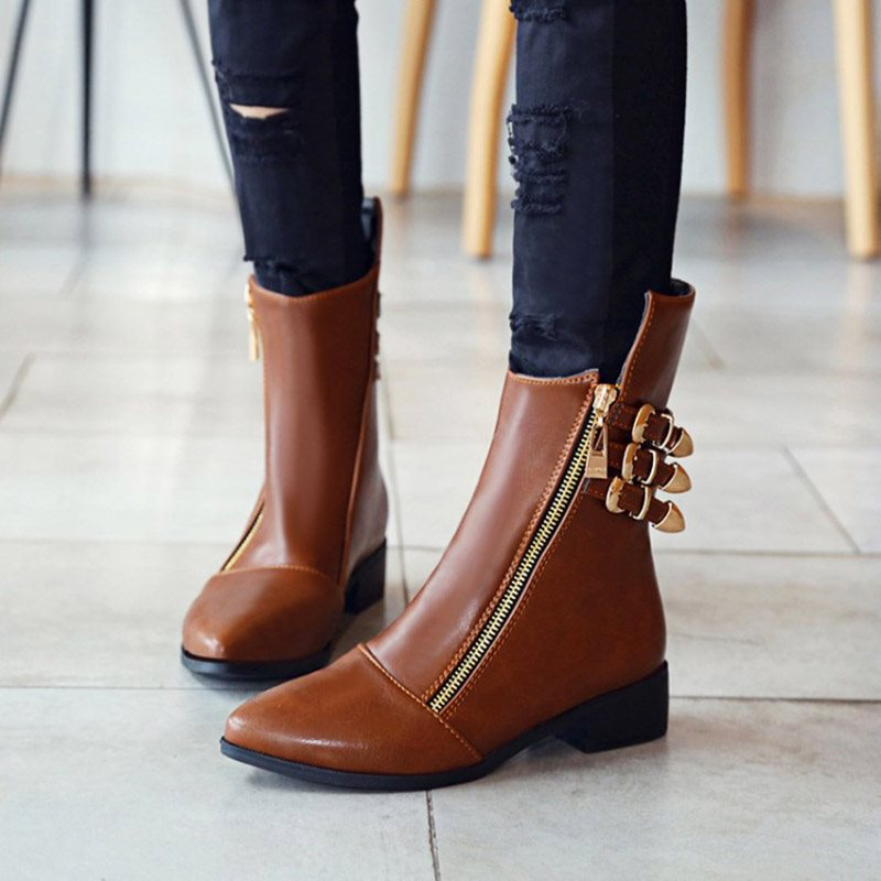 Pointed Toe Side Zipper Plain Block Heel Short Floss Buckle Boots