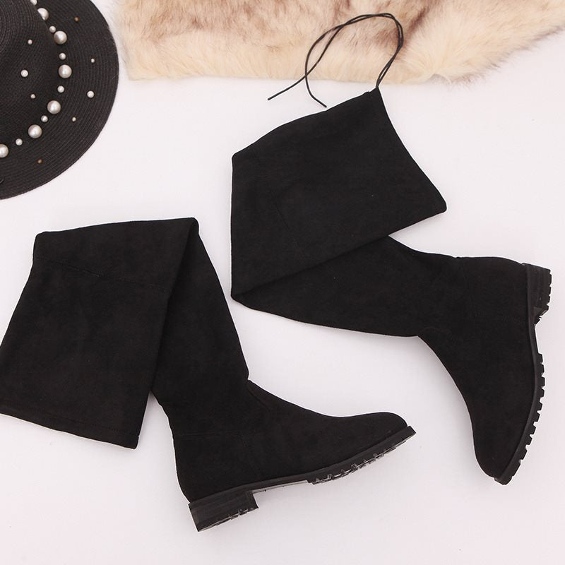 Slip-On Chunky Heel Round Toe Casual Boots