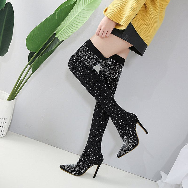 Stiletto Heel Slip-On Pointed Toe Cotton Purfle Boots
