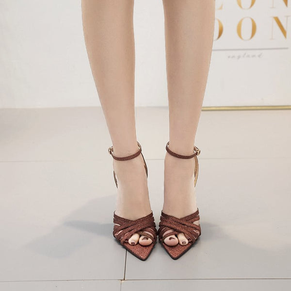 Ankle Strap Line-Style Buckle Stiletto Heel Peep Toe Plain Casual Sandals