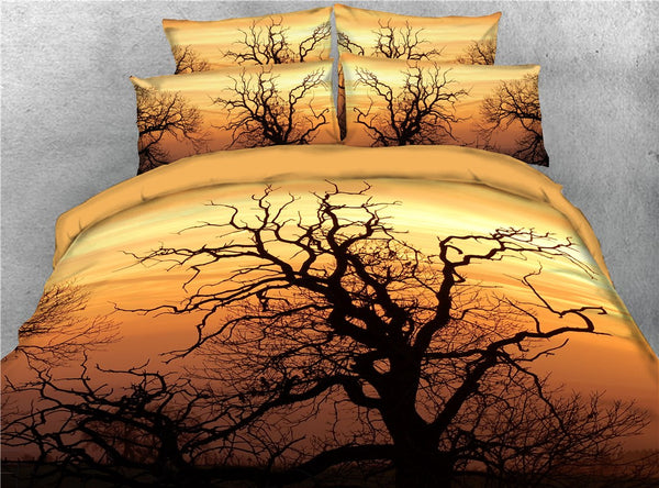 Tencel Cotton Machine Wash Duvet Cover Set Reactive Printing bedding Set