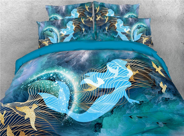 Tencel Cotton Machine Wash Bedding Set Duvet Cover Set Reactive Printing