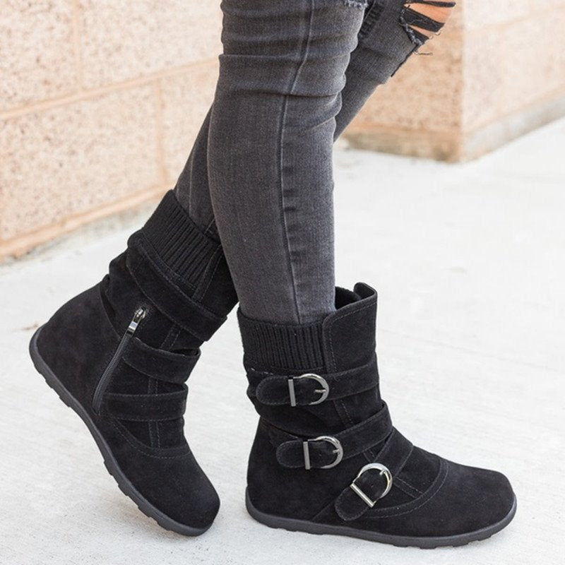 Plain Side Zipper Round Toe Flat With Western Buckle Boots
