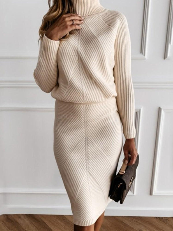 Knee-Length Turtleneck Long Sleeve Pullover Plain Dress
