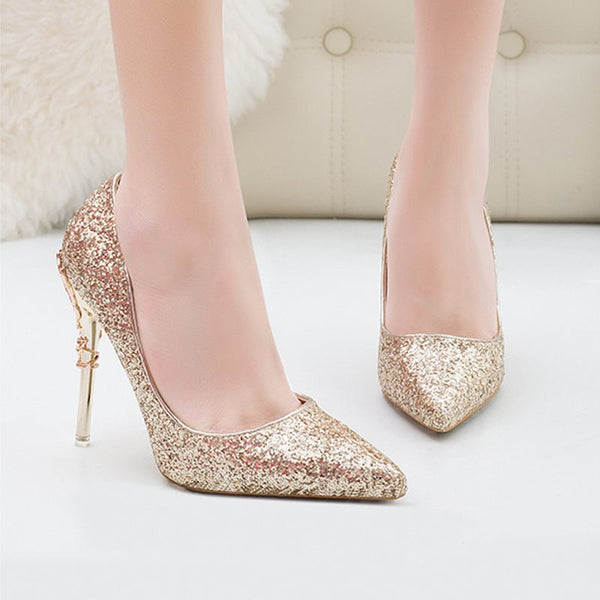 Stiletto Heel Slip-On Sequin Pointed Toe Ultra-High Heel Plain Thin Shoes