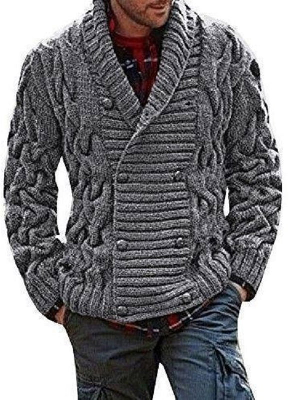 Plain Standard Lapel European Double-Breasted Sweater
