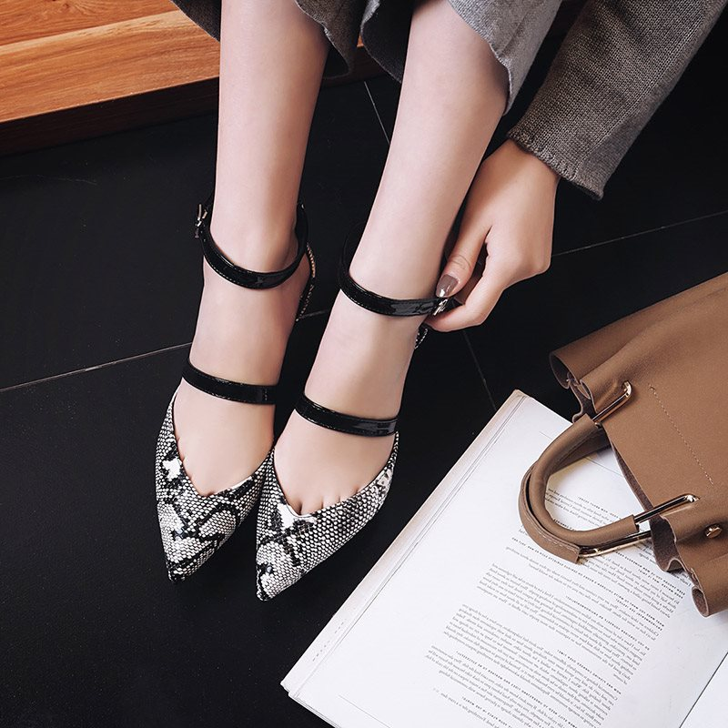 Line-Style Buckle Stiletto Heel Pointed Toe Serpentine Casual 6.5cm Thin Shoes