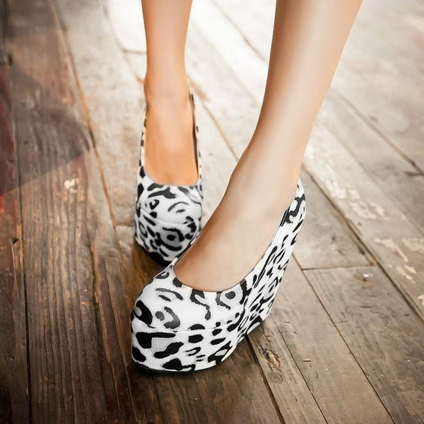 Slip-On Wedge Heel Platform Round Toe 15cm Casual Thin Shoes