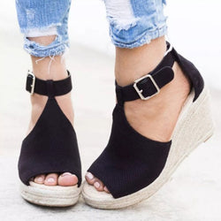 Peep Toe Wedge Heel Ankle Strap Buckle High-Cut Upper Casual Sandals