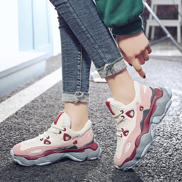 Mid-Cut Upper Round Toe Platform Lace-Up PU Casual Sneakers