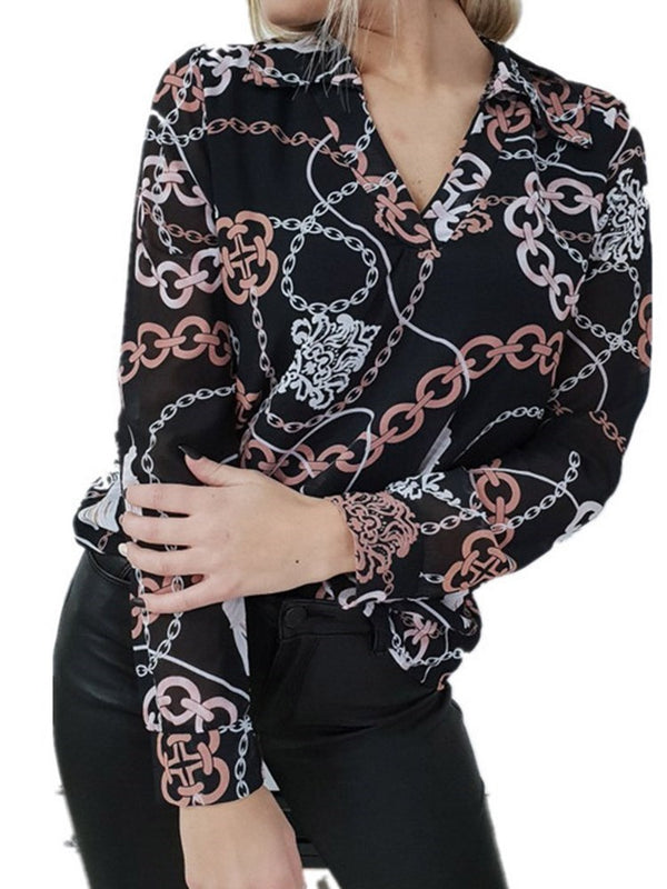 Print Geometric Regular Standard Long Sleeve Blouse